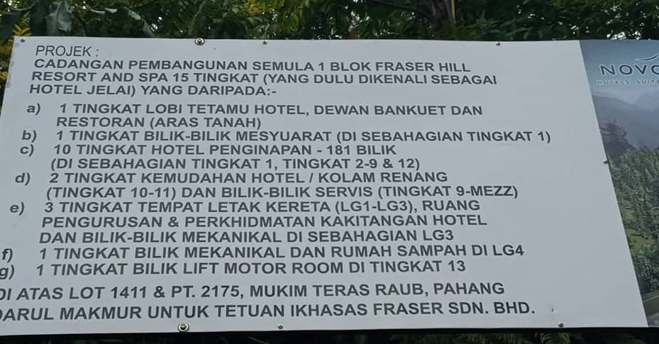The board at the site of the new 15-storey Fraser's Hill Resort & Spa.