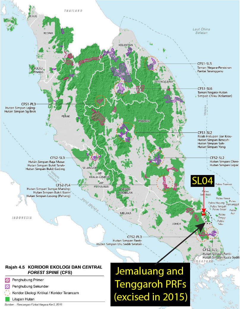 A map showing the distribution of forest areas in Peninsular Malaysia incorporated in the Central Forest Spine plan.