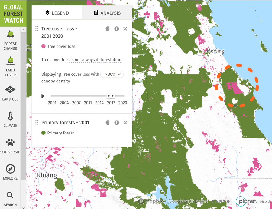 Global Forest Watch, tree cover loss over primary forest cover, 2017.
