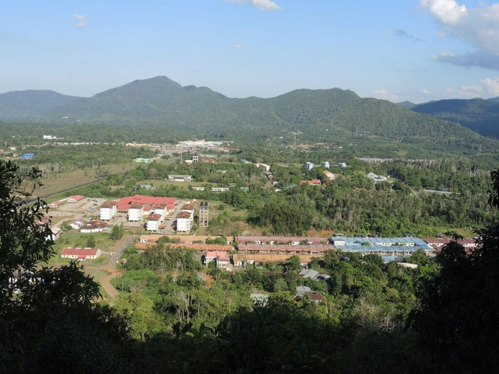 Telupid town viewed from hill