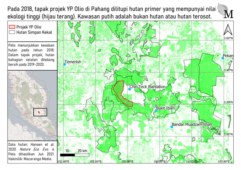 Peta yang menunjukkan lokasi tapak projek YP Olio dan keadaan hutan.