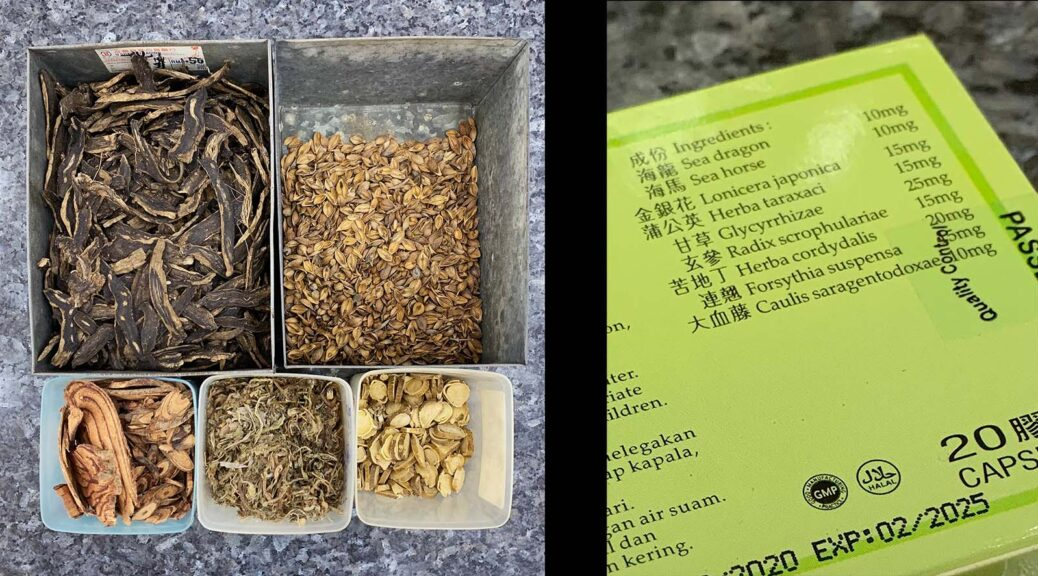Many ingredients go into TCM seahorse capsules. This brand distributed by a Tawau, Sabah outfit, includes (clockwise from top left) Radix scrophulariae, Forsythia suspensa, Caulis saragentodoxae, Herba taraxaci and Glycyrrhizae. (Reana Ng)