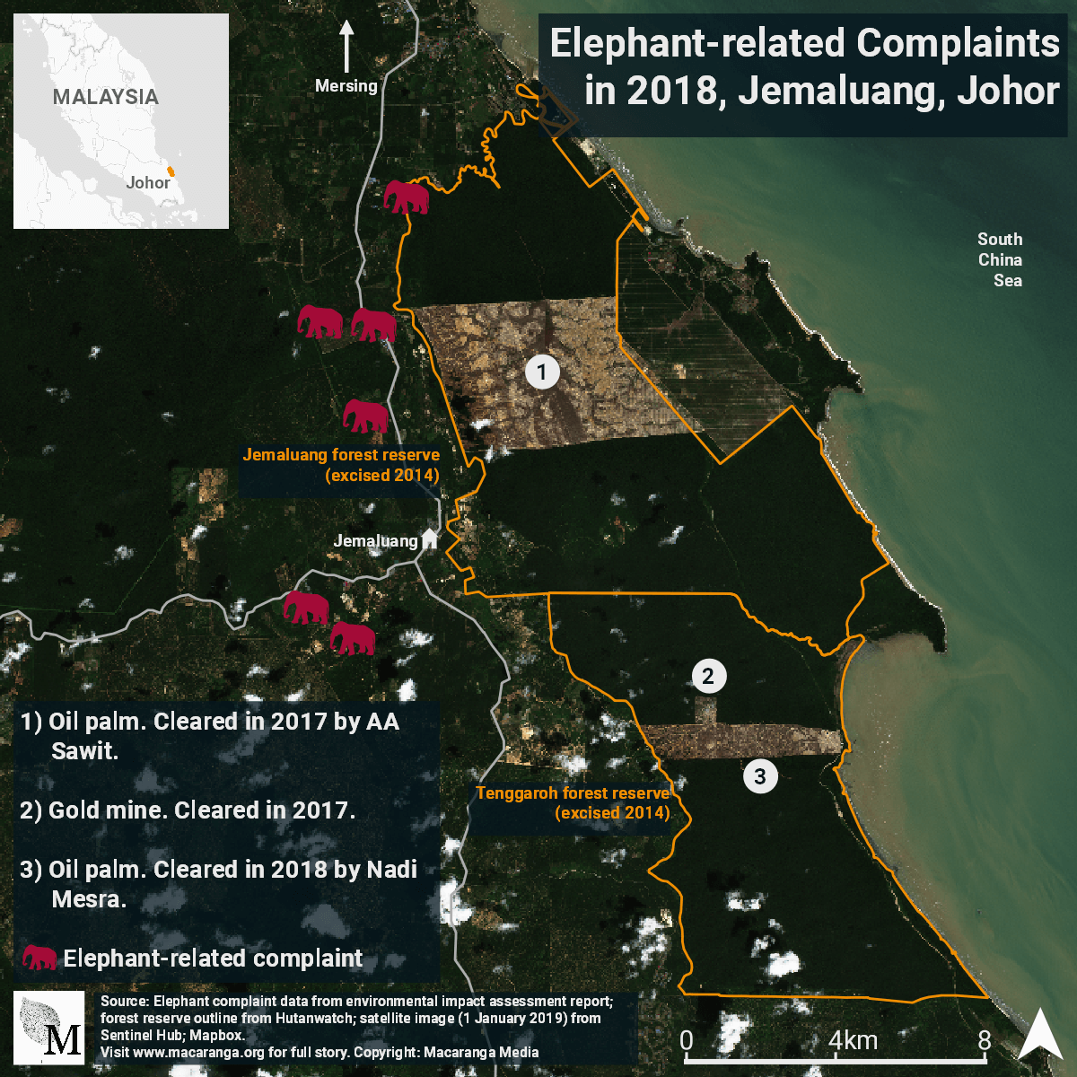 Location of elephant-related complaints in 2018 in Jemaluang, Johor.