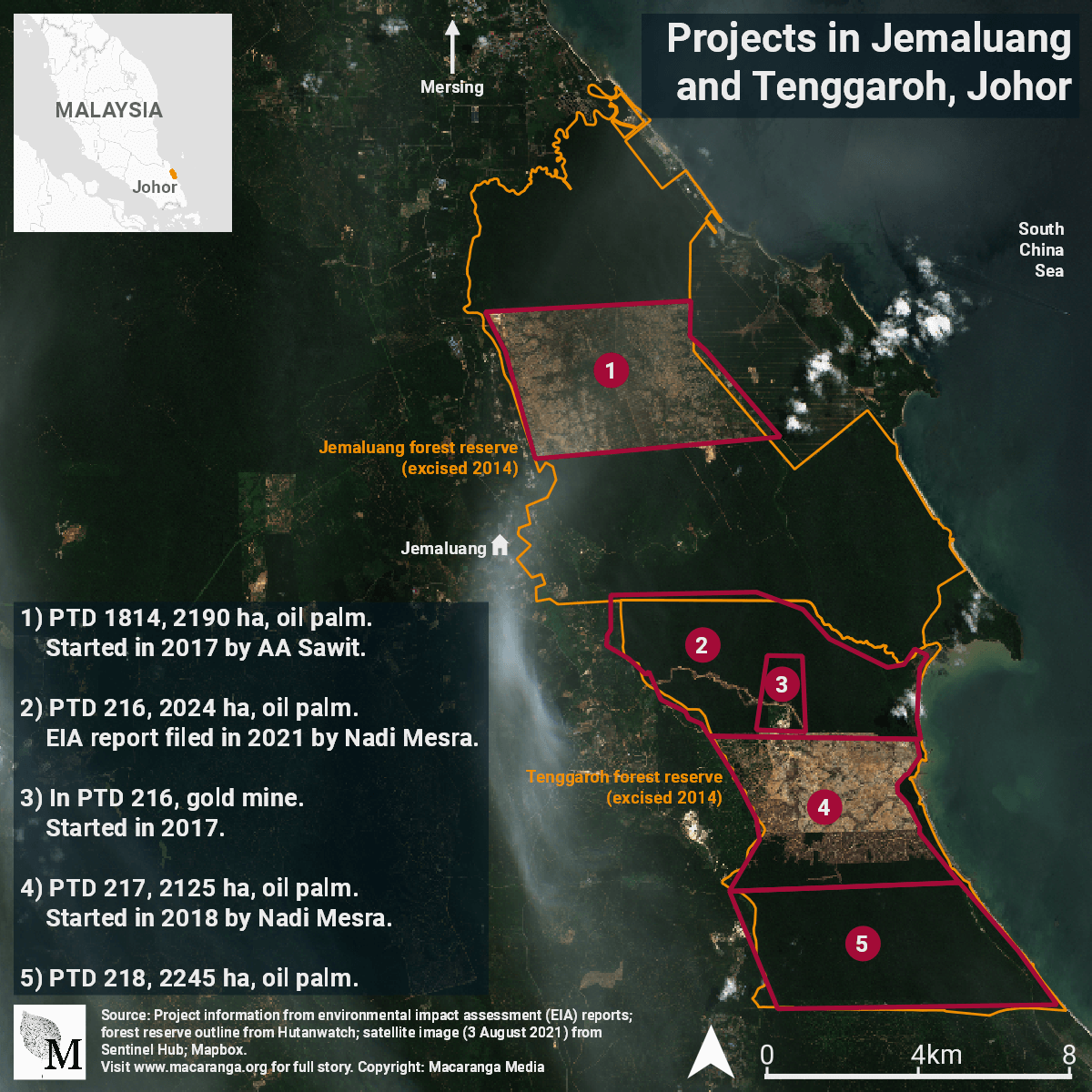 Map of projects in Jemaluang and Tenggaroh forests, Johor