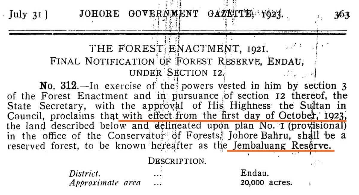 A scanned copy of the gazette notice in 1923 that established the Jemaluang forest reserve, then called Jembaluang. (Courtesy of Sinar Project)